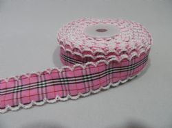 2 metres or 10 metre Roll 25mm Pink Tartan Vintage Scalloped Edge Ribbon Cotton